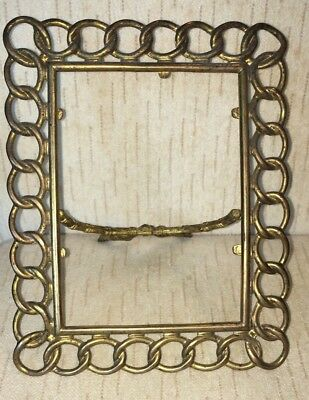 Antique Looped Rope Brass Photograph Picture Frame with Easel Back