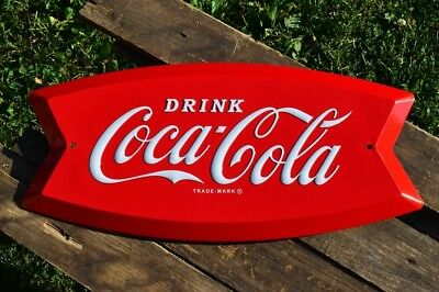 Coca-Cola Arciform Embossed Tin Metal Sign - Fishtail - Retro - Coke