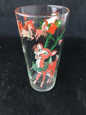 Vintage In and Out Burgers Santa And Reindeer Glass