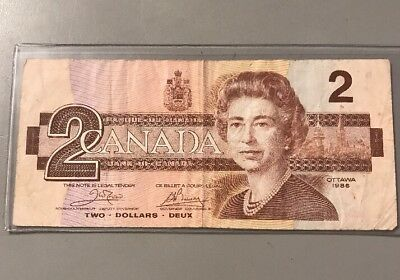 Beautiful 1986 Bank Of Canada $2 Note Canadian Bill Rare Currency Paper Money