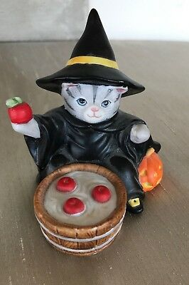 Rare Vintage Kitty Cucumber Halloween Witch Figurine Knick Knack, 1987