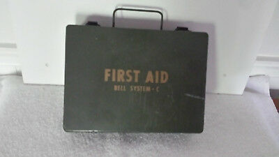 First Aid kit metal Bell telephone company system C injury reports from employee