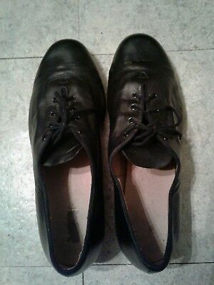 Bloch Black Leather String Up Techno Tap Shoes Size 12