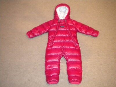 Hardly Used Patagonia Infant Down Snowsuit 6-12 months deep pinkish red