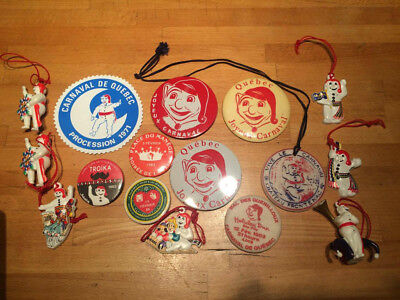 *** RARE *** Lot of 16 Quebec Winter Carnival Effigy & Button *** MUST SEE ***
