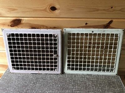 "2 Vintage Steel Floor Heat Grate Register Vent OD 14X12 ID 12""x10"" 2""D Wall Vent"