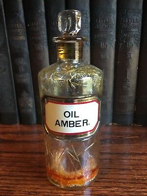 Oil Amber. Gold Label Lug Antique Apothecary Pharmacy Bottle Jar