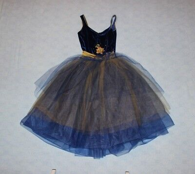 Ballet Dress Navy bodice and teal tulle skirt Adult Small
