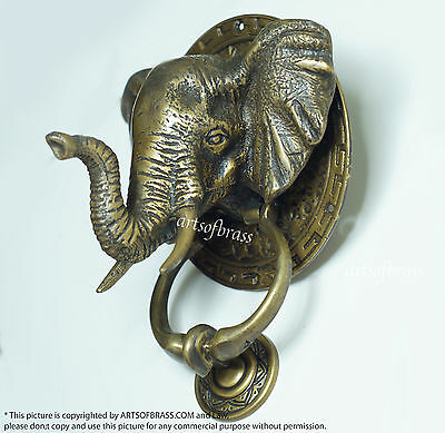 """7.08"""" inches Vintage Large mammoth Elephant Head Door Knocker Cast Solid Brass"""