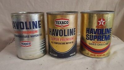 (3) Vintage Texaco Havoline Motor Oil Cans (Texaco Oil Can Company)