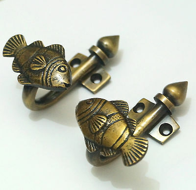 2 pcs Vintage CROWN FISH Brass Antique Hat Coat Strong Wall Mount HOOK Hanger