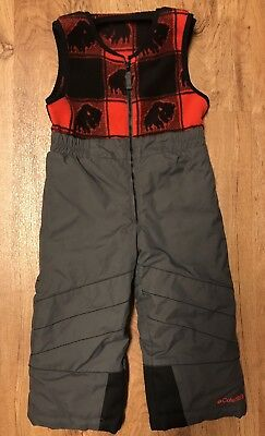 Columbia 3T Winter Insulated Snow Bibs Pants Overalls Buffalo Plaid Gray Toddler