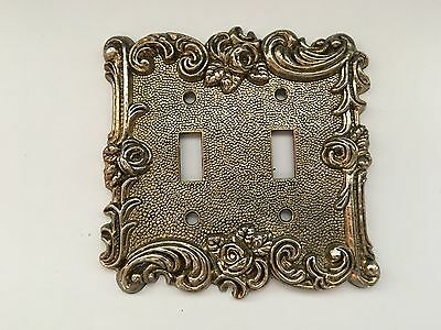 Vintage Double Light Switch Cover / Plate Brass American Tack & Hardware Co.