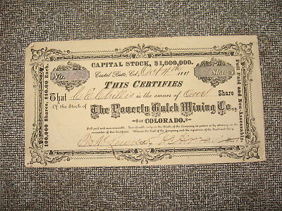 1881 Stock Certificate The Poverty Gulch Mining Co. Of Colorado