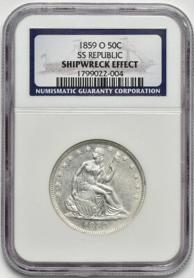 1859 O Seated Liberty Half-Dollar, SS Republic Recovery, NGC Shipwreck Effect
