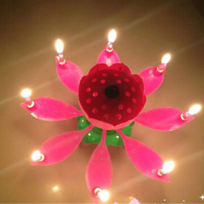 2017 Magic Birthday Candle HOT Cake Topper Blossom Musical Party Lotus Flower