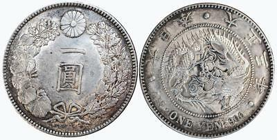 Japan 1914 (Year 3)  Silver Yen Extremely Fine Condition Y-38 One Year of Issue