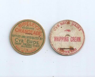 "2 different ""Cyr Bros. Dairy Products Co.""  Bellingham, (Wash.) milk bottle caps"