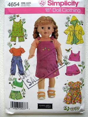 """Simplicity 4654 Heigl Pattern Summer Clothes Fits 18"""" American Girl Doll UNCUT"""