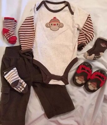 Old Navy Sock Monkey 6-12 Months Lot