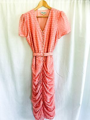 Stunning Vintage 80s Does 50s Sheer Ruched Skirt Dress With Scallop Print Fleck