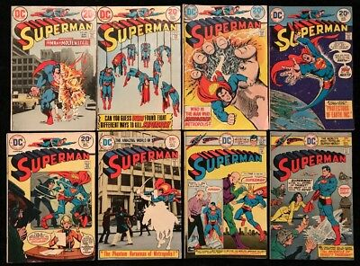 Superman #263-293 - DC Comics - Lot of 8 BRONZE AGE early 1970's - 20, 25 Cents