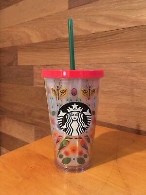 NEW 2017 STARBUCKS COLD CUP TROPICAL FLOWERS BIRDS ACRYLIC TUMBLER 16 fl oz