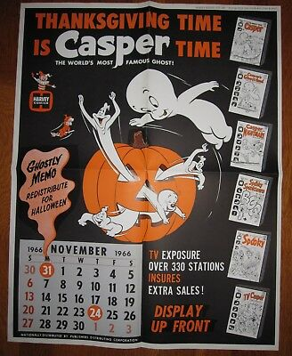 1966 Harvey Comics CASPER THE FRIENDLY GHOST Promo DISPLAY POSTER RARE HALLOWEEN
