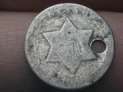 1851-1853 Three 3 Cent Silver Trime- Old Type Coin, Holed