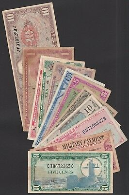 L11 USA Military Payment Certificate collection of 12 different types! Fine-VF