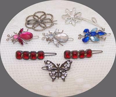 Lot of Vintage Hair Barrettes & Bobbie Pin. Bees, Butterflies & Flowers