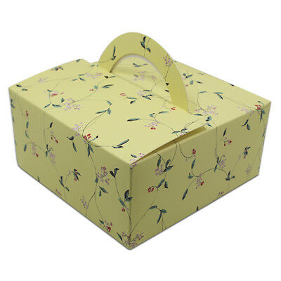 Yellow Paper Box with Handle Party Favor Gift Cake Cupcake Muffin Packaging Box