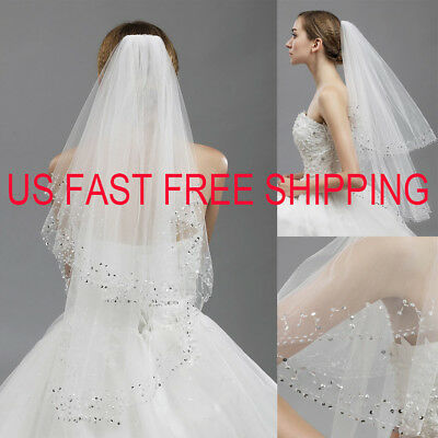 LA Hot 2T White/Ivory Wedding Bridal Veil With Comb Fingertip Tulle Sequin Edge