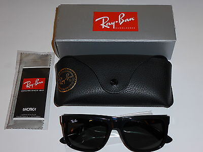 New Ray-Ban Sunglasses Justin RB4165 601/71 Black Solid Green Lens RB-4165 55mm
