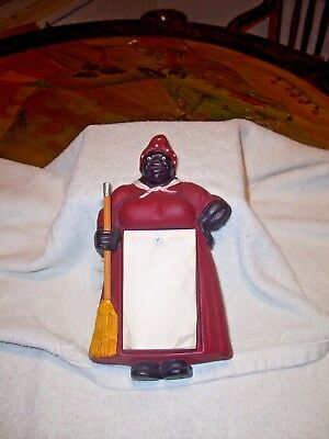 Cast Iron Aunt Jemima Note Pad Holder w/Pencil for Broom Handle wall hanging