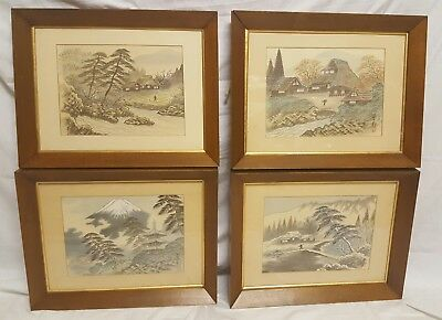 Complete set of 4 framed Japanese watercolor on silk paintings. SIGNED/STAMPED
