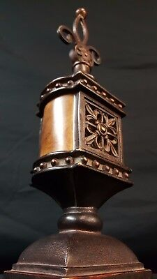 """Vintage copper tower/trophy /w mirror 12"""" tall"""