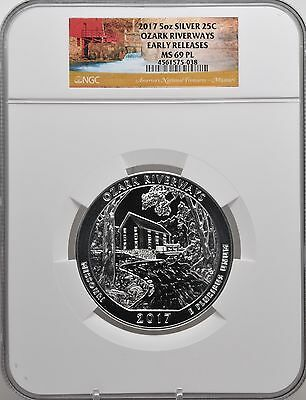 2017 5oz SILVER 25C Ozark Riverways NGC MS 69PL Early Releases must see!