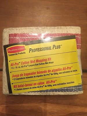 2 18oz New Rubbermaid Commercial Pro Plus Cotton Loop #18 Mop Refill Kit NIP