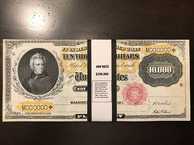 $200,000 In 1900 $10,000 Gold Certificate Play/Prop Money Jackson Actual Size