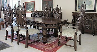 Antique Spanish Baroque Dining 12 Pieces Set ca 1910 Hand Carved Red Cedar Wood