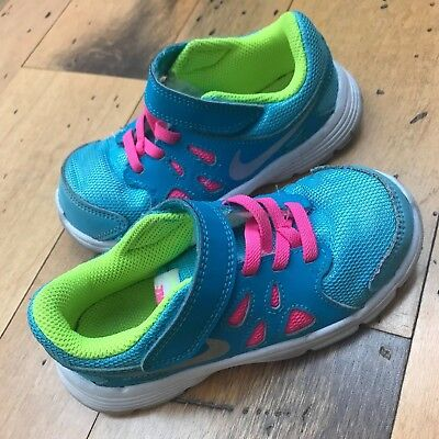 Nike Toddler's GIRLS SIZE 9C BLUE AND PINK Sneakers