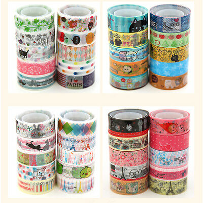 10pcs Cartoon Floral Colorful Washi Tapes Adhesive Stickers DIY Decor Diary