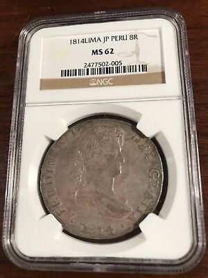 1814-LIMA JP Peru 8 Reales - NGC Graded MS-62 !!! Nice coin and grade for type!