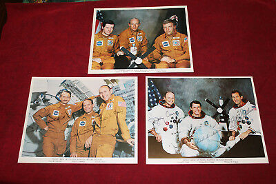 First Second And Third NASA Skylab Mission Signed Prime Crew Photo's