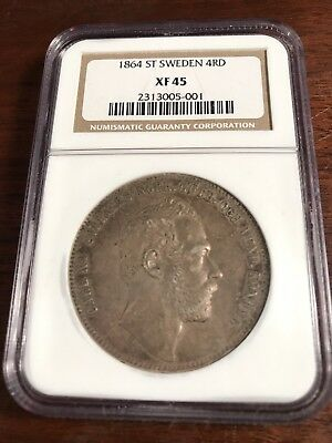 1864-ST Sweden 4 Rigsdaler - NGC Graded XF-45 - Nice choice XF