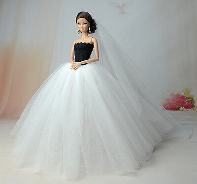Barbie Doll Clothes B/W Evening Dress Wedding Party /Clothes/Outfit