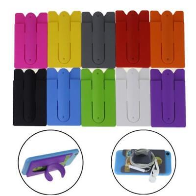 Silicone Stick Credit Card Holder Slot Stand Shell Case For Cell Phone Universal