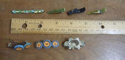 Vintage 90s Metal Hair Barretes Clasps Mix Style Color Broken Used Alter Re DIY