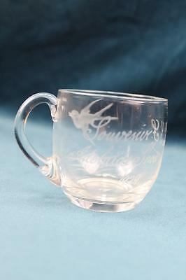 "Engraved souvenir glass Custard cup Adelaide Show 1920 ""LF"" bird swallow foilage"